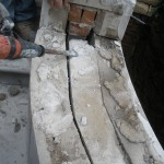 Removal of existing stone and preparation for flashing installation
